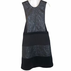 Raoul black quilted open sides cross back dress